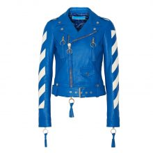 New Woman's Cropped Tasseled Leather Biker Jacket, Bright Blue Color Jacket