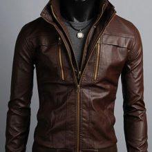 Men's Leather Jackets Korea Style Casual Slim Fit, Biker leather jacke