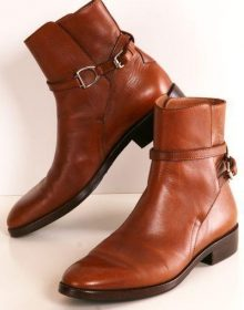 New Stylish Jodhpur Tan Color Leather Men's High Ankle Buckle Strap Boots