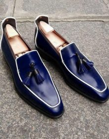 Handmade Men's Loafer Shoes, Navy Blue Leather Loafer Slip Tassels Casual Shoes.