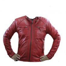 Handmade Men's Red Biker Quilted Motorcycle Ride Or Die Leather Jacket
