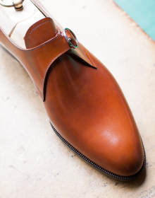 Handmade men Tan monk calf leather shoes, Men dress shoes, Men monk shoes