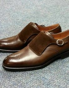 Handmade Men brown Formal monk Shoes, Mens fashion brown dress shoes, Men shoes