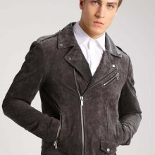 Amazing Looking Classy Gray Color Men Biker Leather Jacket With Notch Collar