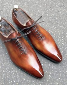 Handmade Men's Formal Shoes, Men's Brown Leather Lace Up Formal Shoes