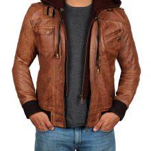Handmade Men's Real Leather Hood Jacket Bomber Aviator Brown