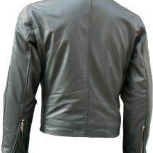 Handmade Men Classical Biker Grey Short Leather Jacket Men