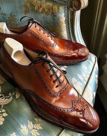 Premium Leather Brown Tone Wing Tip Brogues Toe Men Handmade Oxford Shoes