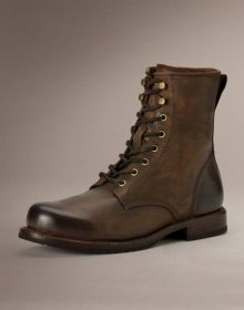 Men Brown Combat Boot, Lace Up Military Boots, Handmade Leather Boot
