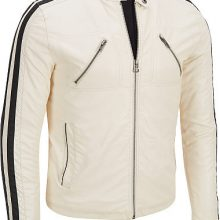 Men White leather jacket with black lines, MEN Biker leather jacket, Men jacket