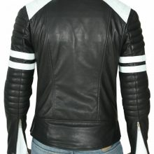 Handmade Mens Black And White Biker Leather Jacket, Slim Fit Biker Leather Jacket For Mens