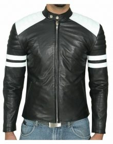 Handmade Mens Black And White Biker Leather Jacket, Slim Fit Biker Leather Jacket