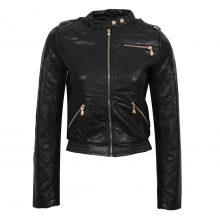 Women's Black Biker Quilted Tab Collar Genuine Leather Adjustable Waist Jacket