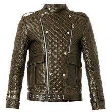 Handmade Mens brown quilted leather biker jacket, Slim fit Jacket For Mens