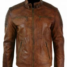 New Handmade Men's Brown Biker Genuine Leather Jacket
