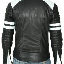 Handmade Mens Black And White Biker Leather Jacket, Slim Fit Biker Leather Jacket