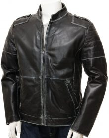 HANDMADE MEN'S Black Leather Biker Jacket, Slim Fit Jacket For Mens
