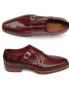 New Handmade Men Double Monk Strap Burgundy Shoes
