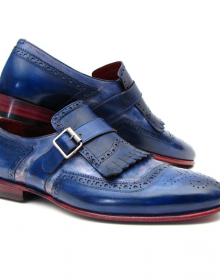 New Handmade Men Kiltie Monk Strap Blue Shoes