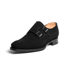 New Handmade Men Neo Suede Double Monk Strap Black Shoes