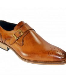 New Handmade Men Light Brown Single Monk Strap Cognac Shoes