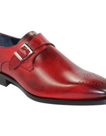 New Handmade Men Single Monk Strap Oxford Shoes