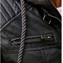 Red Bridge Men's Faux Leather Jacket Biker Jacket with Hood 2in1 2019