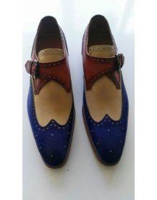 Handmade Men Blue Beige Brown Wing Tip Single Buckle Strap Premium Leather Shoes