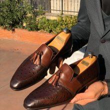 Handmade Men Brown Calf-Skin Leather Tassel Loafer Shoes
