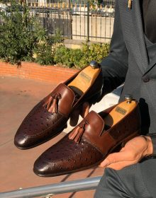 Handmade Men Brown Calf-Skin Leather Tassel Loafer Shoes