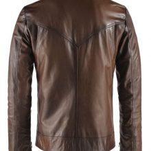 Stylish Brand New Men's Genuine Leather Jacket Brown Slim fit Biker Jacket