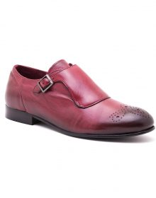 NEW HANDMADE GENUINE MONKSTRAP BURGUNDY LEATHER SHOES