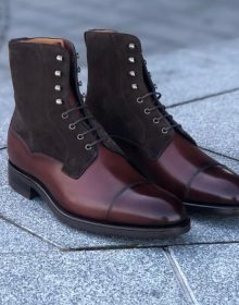 Handmade Men Two Tone Wingtip Cap Toe Boots Leather Boot, men ankle shoes