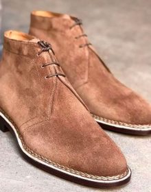 Handmade Men Staple Chukka Dark Brown Calf Suede and Leather sole Goodyear Welt Boot