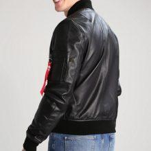 New Handmade Mens Casual Standing Collar Bomber Black Biker Leather Jacket