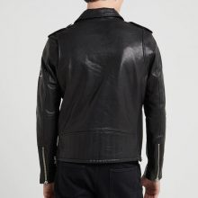 New Handmade Mens Lapel Collar Black Motorcycle Leather Jacket