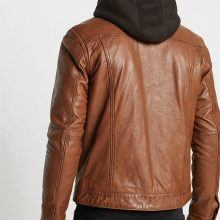 New Handmade Blake Mens Hooded Collar Brown Casual Leather Jacket