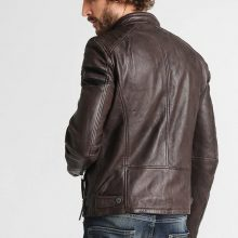 New Handmade Mens Standing Collar Anthrazit Cafe Racer Leather Jacket