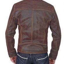 New Handmade Men's Military Brown Tough Lambskin Leather Biker Jacket