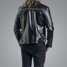 New Handmade Mens Black Biker Studded Leather Jacket