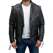 New Handmade Mens Vintage Slim Fit Biker Leather Jacket