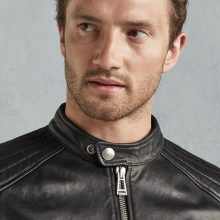 New Handmade Mens Black Tumbled Leather Slimfit Biker Jacket