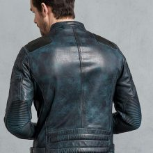 New Handmade Mens Antique Lagoon Leather Biker Cafe Racer Jacket