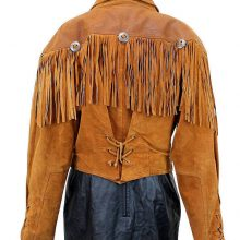 WOMEN'S NEW POPULAR TAN WESTERN FRINGES CONCHO LEATHER HIPPY JACKET