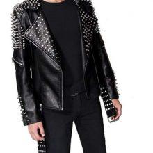 New Handmade Men's Black Fashion Studded Punk Style Leather Jacket