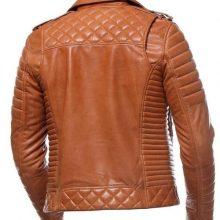 New Handmade Men Motorcycle Tan Leather Jacket
