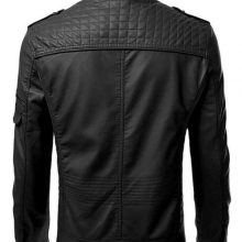New Handmade Mens Black Retro Motorcycle Cow-Hide Leather Jacket