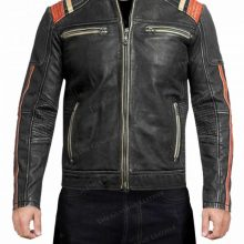 New Handmade Mens Cafe Racer Motorcycle Sheepskin Leather Jacket