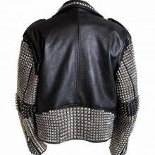 New Handmade Mens Punk Studded Black Leather Jacket