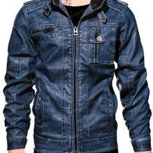 New Handmade Mens Blue Denim PU Biker Leather Jacket